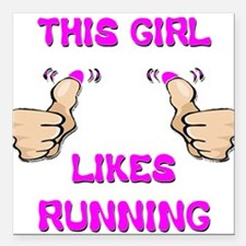 """This Girl Likes Running Square Car Magnet 3"""" x 3"""""""