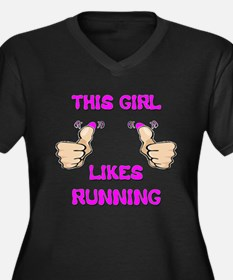 This Girl Likes Running Women's Plus Size V-Neck D