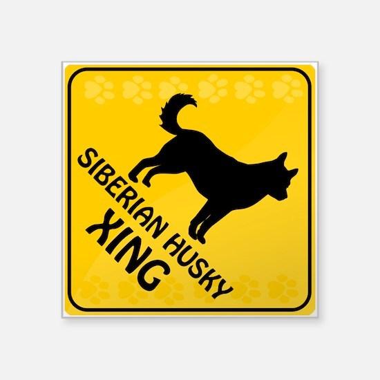 "Husky Xing Square Sticker 3"" x 3"""