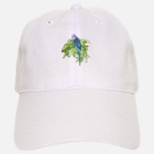 Blue Budgie on Green Baseball Baseball Cap