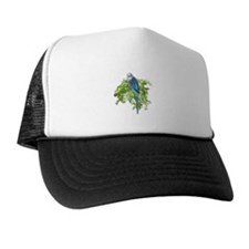 Blue Budgie on Green Trucker Hat