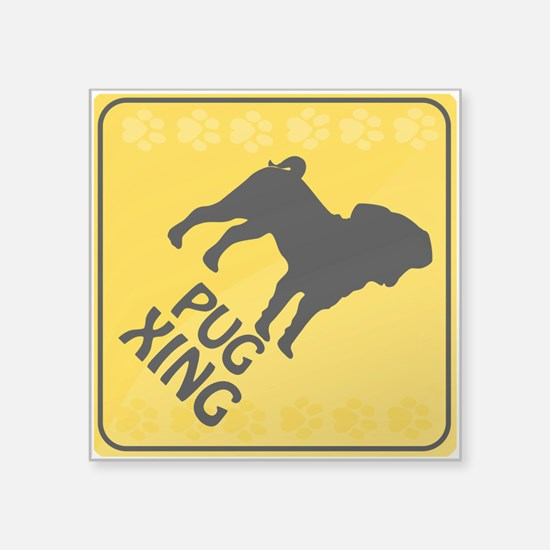 "Pug Xing Square Sticker 3"" x 3"""