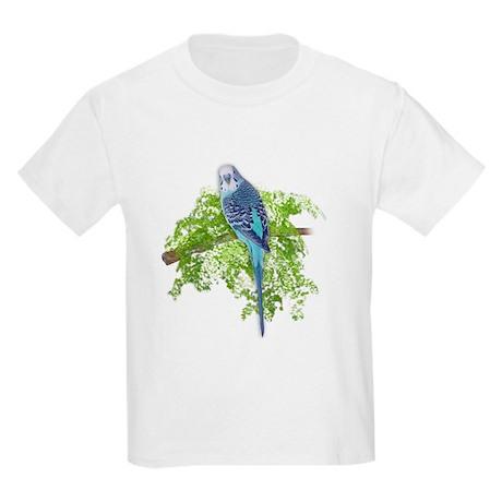 Blue Budgie on Green Kids Light T-Shirt