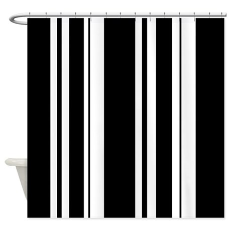 Bold black stripe shower curtain by stripstrapstripes Bold black and white striped curtains