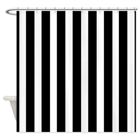 Sleek Black And White Stripes Shower Curtain By Stripstrapstripes