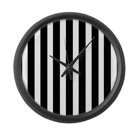 Sleek Black And White Stripes Large Wall Clock By