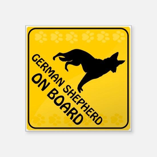 """German Shepherd On Board Square Sticker 3"""" x 3"""""""