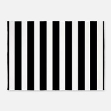 Sleek black and white stripes 5'x7'Area Rug