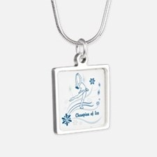 Personalized Ice Skater Silver Square Necklace