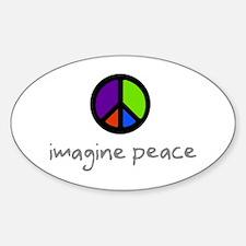 Imagine Peace Blue Glasses Oval Decal