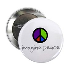 Imagine Peace Blue Glasses Button