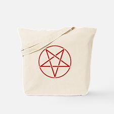 Inverted Pentagram Red Tote Bag
