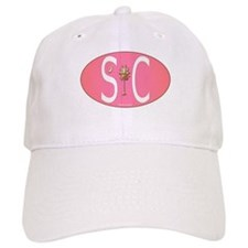 White on Pink SC Euro Oval Baseball Baseball Cap