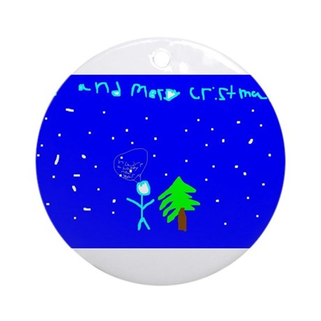stickman cristmas ornament (round)