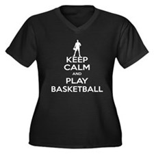 Keep Calm and Play Basketball Women's Plus Size V-