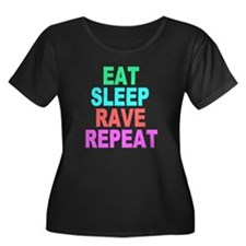 Eat Sleep Rave Repeat colorful Shirt Plus Size T-S