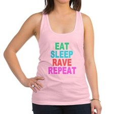 Eat Sleep Rave Repeat colorful Shirt Racerback Tan
