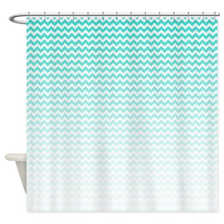 Aqua Ombre Chevron Shower Curtain By BWCDesigns