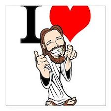 """I Love Jesus Square Car Magnet 3"""" x 3"""""""