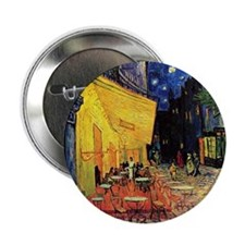 """Cafe Terrace at Night by Vincent van 2.25"""" Button"""
