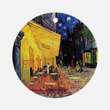 Cafe Terrace at Night by Vincent va Round Ornament