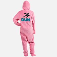 RUN Aqua Footed Pajamas