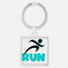 RUN Aqua Square Keychain