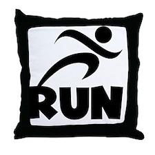 RUN Black Throw Pillow