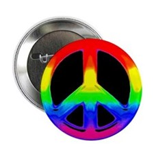WATERCOLOR RAINBOW PEACE SIGN Button