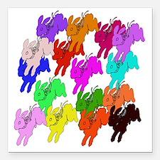 "Rainbow Rabbits Square Car Magnet 3"" x 3"""