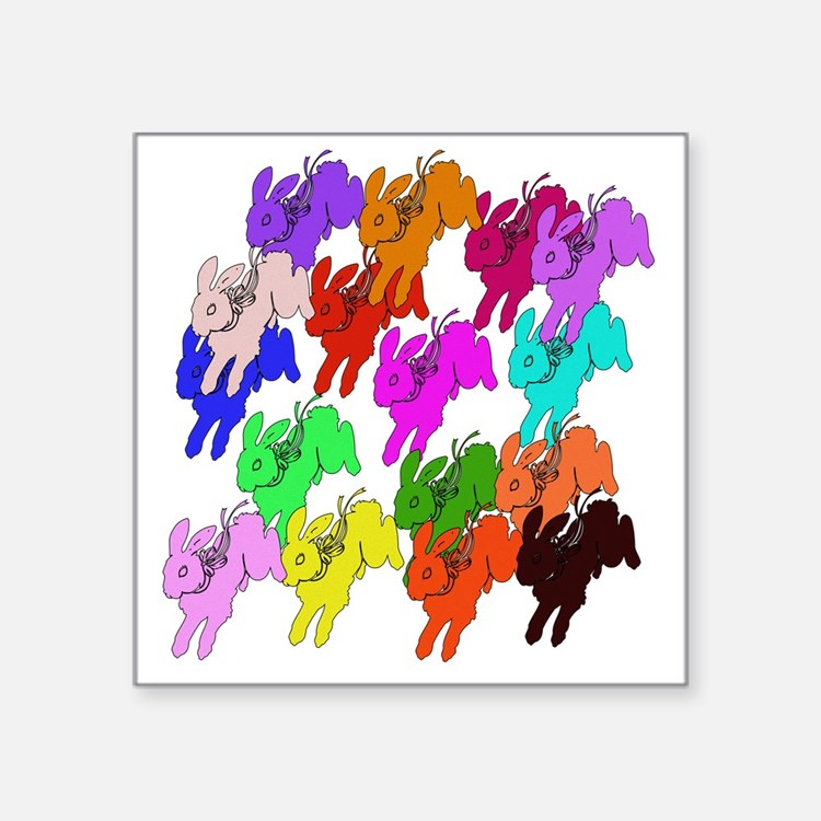 "Rainbow Rabbits Square Sticker 3"" x 3"""