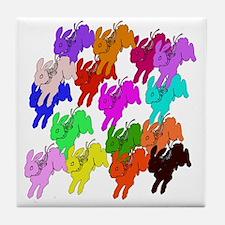 Rainbow Rabbits Tile Coaster