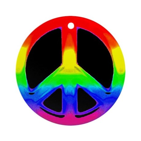 WATERCOLOR RAINBOW PEACE SIGN Ornament (Round)