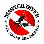 Master Diver (Round) Square Car Magnet 3