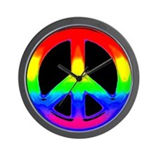 WATERCOLOR RAINBOW PEACE SIGN Wall Clock