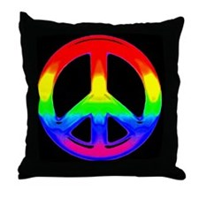 WATERCOLOR RAINBOW PEACE SIGN Throw Pillow