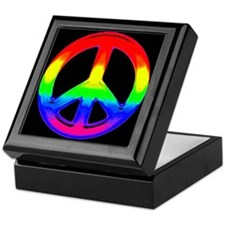 WATERCOLOR RAINBOW PEACE SIGN Keepsake Box