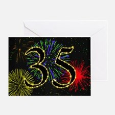 35th birthday party fireworks Greeting Card