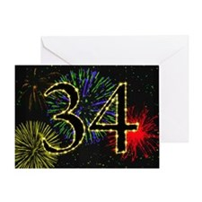 34th birthday party fireworks Greeting Card
