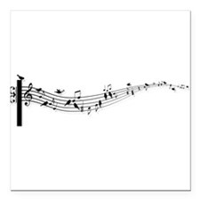 "music notes with birds Square Car Magnet 3"" x 3"""