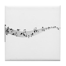 music notes with birds Tile Coaster