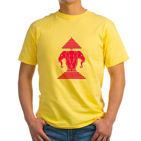 Pink 3 Headed Elephant Yellow T-Shirt