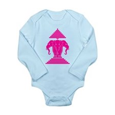 Pink 3 Headed Elephant Long Sleeve Infant Bodysuit