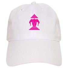 Pink 3 Headed Elephant Baseball Cap