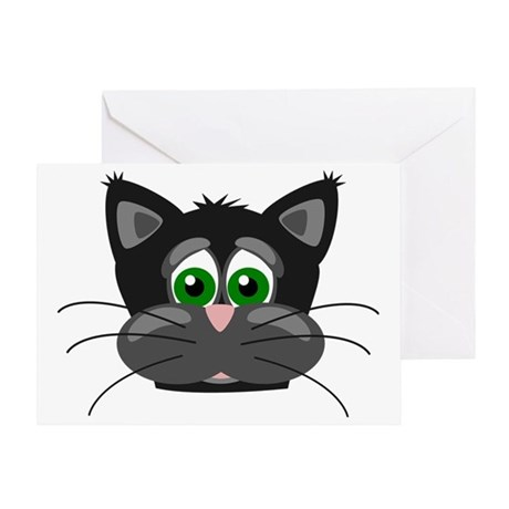cute black and gray kitty cat face Greeting Card