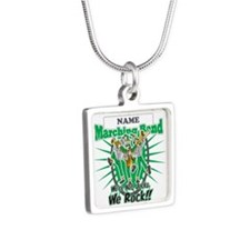 Marching Band Rocks(Green) Silver Square Necklace