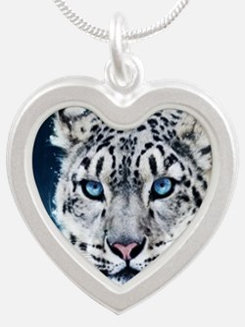 Snow Leopard Silver Heart Necklace