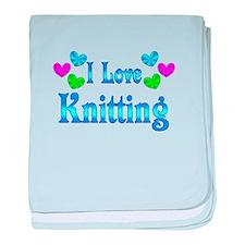 I Love Knitting baby blanket