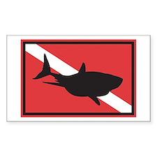 Shark Diving Flag Rectangle Decal