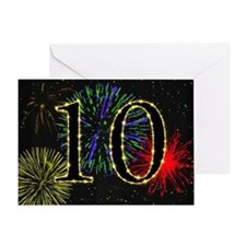 10th birthday party fireworks Greeting Card